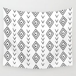 mudcloth 9 minimal textured black and white pattern home decor minimalist beach Wall Tapestry