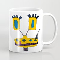 yellow submarine Mugs featuring yellow submarine giraffe by JBLITTLEMONSTERS