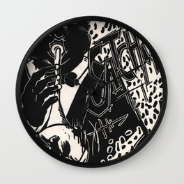 Thank You, Pops, Louis Armstrong Jazz Trumpet Black and White Block Print Wall Clock