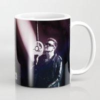 u2 Mugs featuring U2 / Bono 4 by JR van Kampen