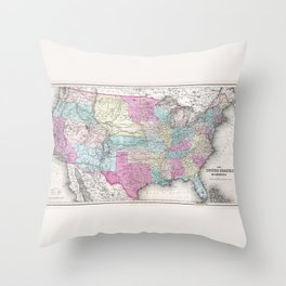 1857 Colton Map of the United States of America Throw Pillow
