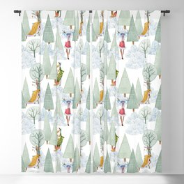 Whimiscal Animals Decorate The Christmas Tree In Winter Forest Blackout Curtain