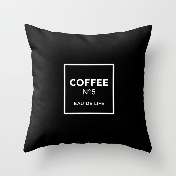 Black Coffee No5 Throw Pillow