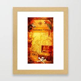 Credendo Vides Old Pirate Map Framed Art Print