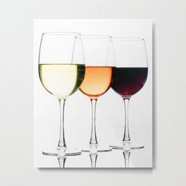 Three Glasses of Different Wines Metal Print