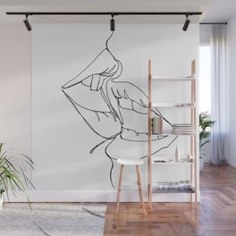a kiss in one line Wall Mural