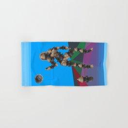 Sexy pump 1. On multicolored background. (Predominance of light blue) Hand & Bath Towel