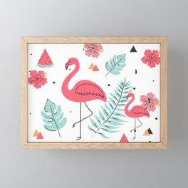 Tropical flowers & flamingos watercolors illustration Framed Mini Art Print