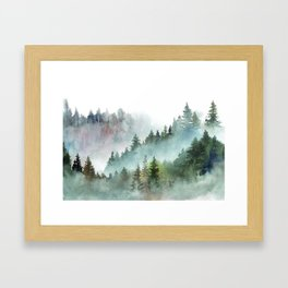 Watercolor Pine Forest Mountains in the Fog Gerahmter Kunstdruck