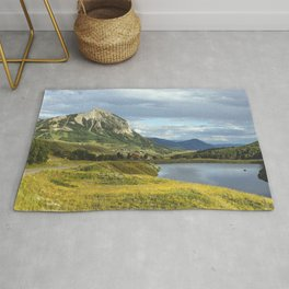 View of Meridian Lake and Mount Crested Butte above the Colorado city of Crested Butte on the high d Rug