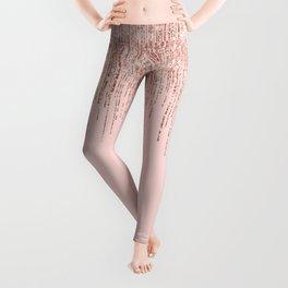 Luxury Pink Rose Gold Sparkly Glitter Fringe Leggings