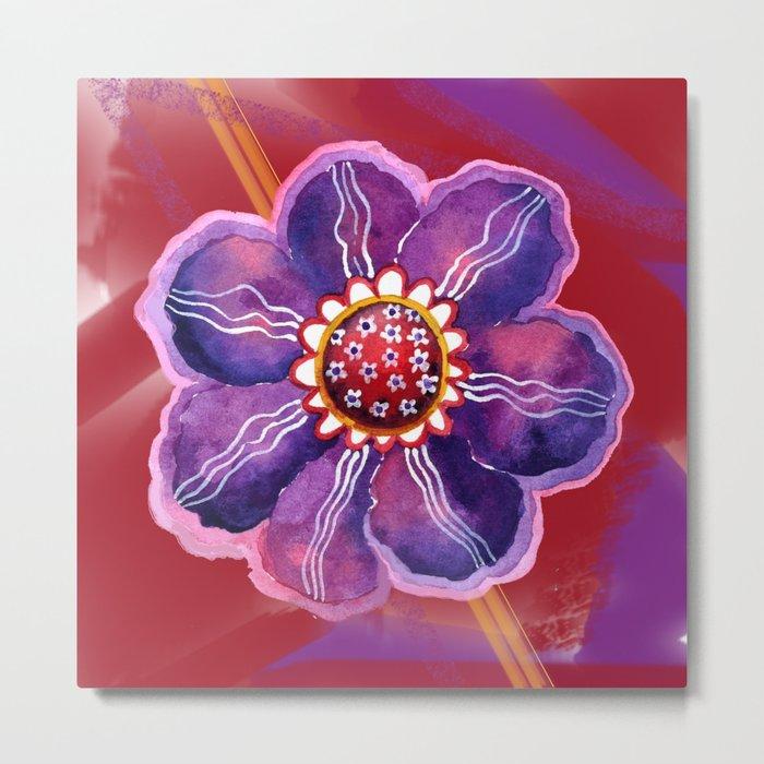 Purple Flower on Red Metal Print