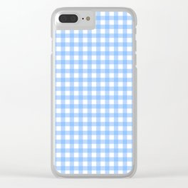 Sky Blue Gingham Clear iPhone Case