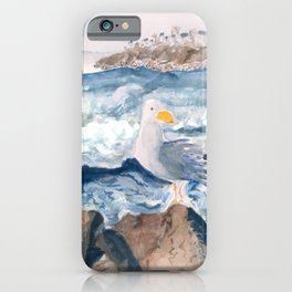 A Watercolor Seagull Named Fred (on Second Cliff in Scituate) iPhone Case