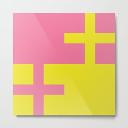 Pink + Yellow Crossover Metal Print