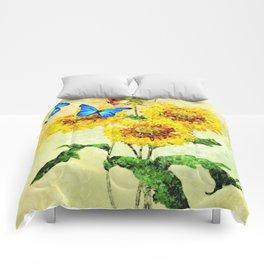 Blue Butterflies on Sunflowers (Color) Comforters