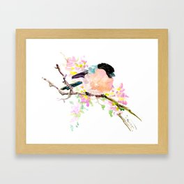 cute bird art, Bullfinch and Spring Framed Art Print