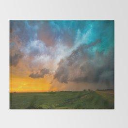 Glorious - Stormy Sky and Kansas Sunset Throw Blanket