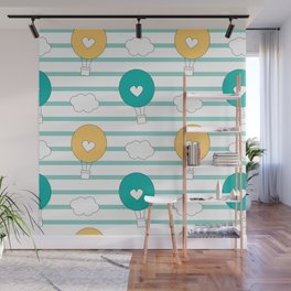 cute lovely cartoon hot air balloons pattern illustration Wall Mural