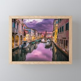 Venice Italy Canal at Sunset Photograph Framed Mini Art Print