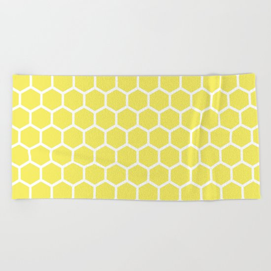 Summery Happy Yellow Honeycomb Pattern- MIX & MATCH Beach Towel