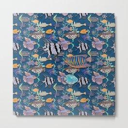 Ultramarine blue exotic fish tank Metal Print