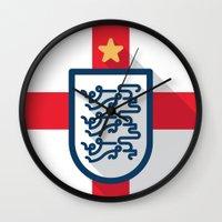 england Wall Clocks featuring England Minimal by Daniel Nyari