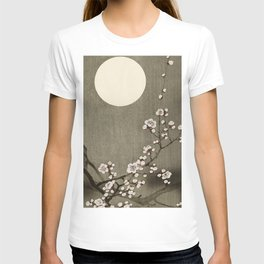 Blossoming plum tree at full moon  - Vintage Japanese Woodblock Print Art T-shirt
