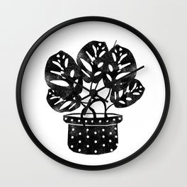 Monstera obliqua linocut black and white potted plant minimal house plants cute zen vibes yoga art Wall Clock