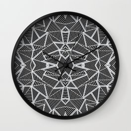 Abstract Lines Black and Silver M Wall Clock