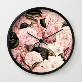 Vintage & Shabby Chic Pink Floral camellia flowers watercolor pattern Wall Clock