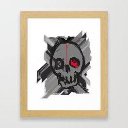 Skull with one eye red Framed Art Print