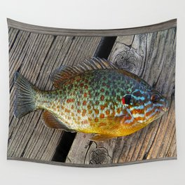 Fish On Wood Wall Tapestry
