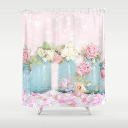 Shabby Chic Aqua Pink Roses Mason Jars Shower Curtain