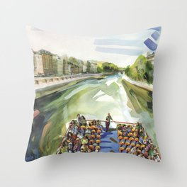 A choppy Seine makes for a fun ride on the Bateau Mouche - Paris Throw Pillow