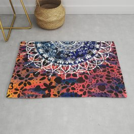 Flower Pattern Mandala Rug