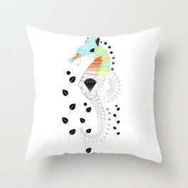 Geoseahorse Throw Pillow