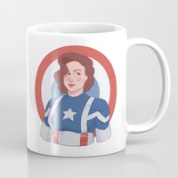 peggy carter Mugs featuring Captain Peggy Carter by Charlotte Foley