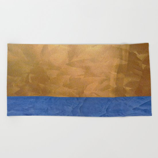 Copper Metallic With Tuscan Blue Stripe Trim Beach Towel