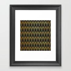 Art Deco Diamond Teardop - Black & Gold Framed Art Print