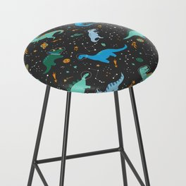 Dinosaurs in Space in Blue Bar Stool