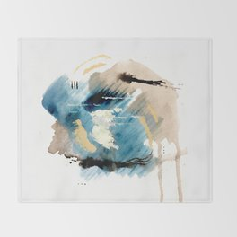 You are an Ocean - abstract India Ink & Acrylic in blue, gray, brown, black and white Throw Blanket
