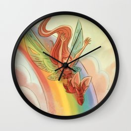 Goblins Drool, Fairies Rule! - Rainbow Swoop Wall Clock