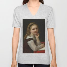 "William-Adolphe Bouguereau ""Distraction"" Unisex V-Neck"