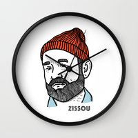 steve zissou Wall Clocks featuring Zissou by Daniel Feldt