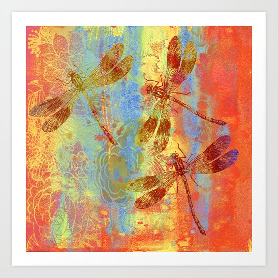 A Dragonflies QQW Art Print
