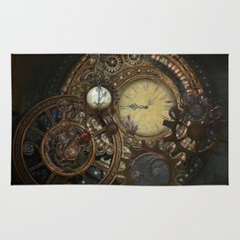 Steampunk Clocks Rug