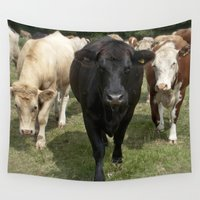 cows Wall Tapestries featuring Cows by Rachel's Pet Portraits