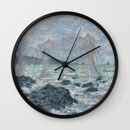 Fishing Nets at Pourville by Claude Monet Wall Clock
