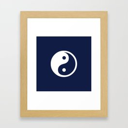 Navy Blue Yin Yang Framed Art Print
